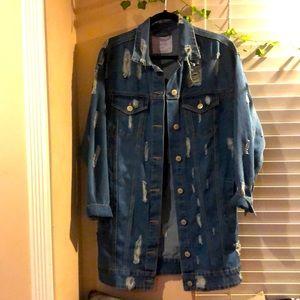 Distressed jean coat